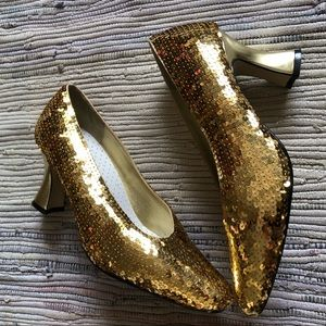 Vintage Dolce By Pierre Shoes Womens 7.5 Gold